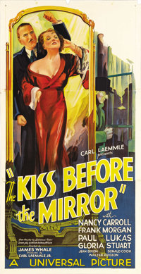 "The Kiss Before the Mirror (Universal, 1933). Three Sheet (41"" X 81""). This film, shot on available Frankenste..."