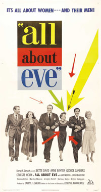 """All About Eve (20th Century Fox, 1950). Three Sheet (41"""" X 81""""). One of cinema's greatest dramas featured Bett..."""