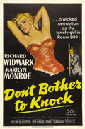 "Movie Posters:Drama, Don't Bother to Knock (20th Century Fox, 1952). One Sheet (27"" X41""). Sex symbol Marilyn Monroe went dramatic in this 1952 ..."