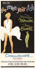 "Movie Posters:Comedy, The Seven Year Itch (20th Century Fox, 1955). Three Sheet (41"" X81""). Marilyn Monroe was cast as the temptress to Tom Ewell..."