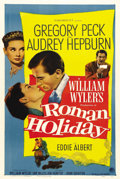 "Movie Posters:Romance, Roman Holiday (Paramount, 1953). One Sheet (27"" X 41"").Twenty-four-year-old Audrey Hepburn won an Academy Award for herpor..."