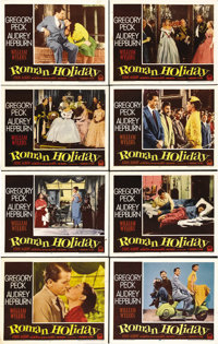 """Roman Holiday (Paramount, 1953). Lobby Card Set of 8 (11"""" X 14""""). Audrey Hepburn had small roles in seven film..."""