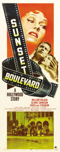 "Movie Posters:Film Noir, Sunset Boulevard (Paramount, 1950). Insert (14"" X 36""). GloriaSwanson took the ultimate gamble, and to some degree made art..."