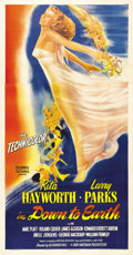 "Movie Posters:Musical, Down to Earth (Columbia, 1947). Three Sheet (41"" X 81""). Rita Hayworth plays the role of Terpsichore, a Greek Goddess who de..."