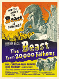 "Movie Posters:Science Fiction, The Beast From 20,000 Fathoms (Warner Brothers, 1953). Poster (30""X 40""). Here is a very scarce poster in the science ficti..."