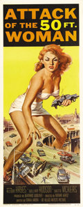 "Movie Posters:Science Fiction, Attack of the 50 Foot Woman (Allied Artists, 1958). Insert (14"" X36""). Allison Hayes, our heroine, is kidnapped by a bald a..."