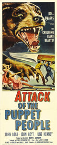 "Movie Posters:Science Fiction, Attack of the Puppet People (AIP, 1958). Insert (14"" X 36"").American International rushed this title into production to rid..."