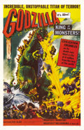 "Movie Posters:Science Fiction, Godzilla (Toho, 1956). One Sheet (27"" X 41""). Godzilla, the King ofthe Monsters, stomped his way across American movie scre..."