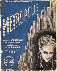 """Metropolis (UFA, 1927). French Novel (Multiple Pages) (7"""" X 9""""). 96-page French photoplay novel of Fritz Lang'..."""