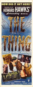 "Movie Posters:Science Fiction, The Thing From Another World (RKO, 1951). Insert (14"" X 36"").Producer/Director Howard Hawks's strong and suspenseful film i..."