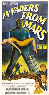 "Invaders From Mars (20th Century Fox, 1953). Three Sheet (41"" X 81""). One of the top classic 50's science fict..."