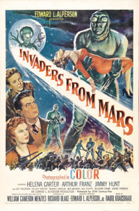 """Invaders From Mars (20th Century Fox, 1953). One Sheet (27"""" X 41""""). A sci-fi invasion told through the eyes of..."""