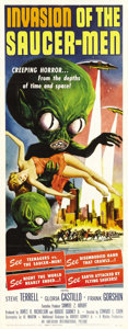 "Movie Posters:Science Fiction, Invasion of the Saucermen (American International, 1957). Insert (14"" X 36""). American International's graphic artist, Alber..."