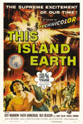 """Movie Posters:Science Fiction, This Island Earth (Universal, 1955). One Sheet (27"""" X 41""""). Severalscientists are chosen by aliens to help them save their ..."""