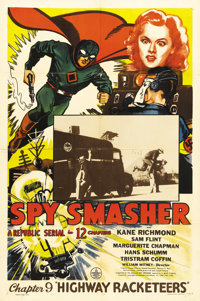 """Spy Smasher (Republic, 1942). One Sheet (27"""" X 41""""). Chapter 9: """"Highway Racketeers."""" One of the bes..."""