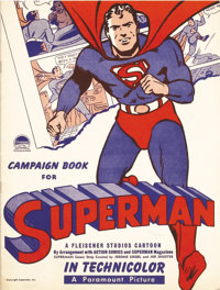 Superman Cartoon (Paramount, 1941). Pressbook (Multiple Pages). Max and Dave Fleischer were reluctant to take this assig...