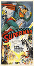 "Movie Posters:Adventure, Superman (Columbia, 1948). Three Sheet (41"" X 81""). After a long,ten year wait, Superman finally leapt from comic books to ..."