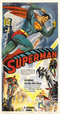 "Superman (Columbia, 1948). Three Sheet (41"" X 81""). After a long, ten year wait, Superman finally leapt from c..."