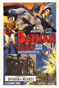 "Movie Posters:Serial, The New Adventures of Batman and Robin (Columbia, 1949). One Sheet(27"" X 41""). Chapter 14: ""Batman vs. Wizard!"" This was th..."