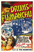 "Movie Posters:Serial, Drums of Fu Manchu (Republic, 1940). One Sheet (27"" X 41"") Chapter 2: ""The Monster."" In this 15-Chapter Republic Serial, Dr...."
