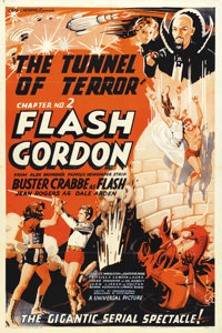 "Flash Gordon (Universal, 1936). One Sheet (27"" X 41""). Chapter Two: ""The Tunnel of Terror."" An incre..."
