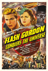 "Flash Gordon Conquers the Universe (Universal, 1940). One Sheet (27"" X 41""). Buster Crabbe and crew take their..."