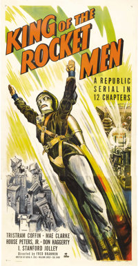 "King of the Rocket Men (Republic, 1949). Three Sheet (41"" X 81""). The evil Dr. Vulcan is killing off a group o..."