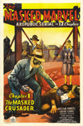 "Movie Posters:Action, The Masked Marvel (Republic, 1943). One Sheet (27"" X 41"") Chapter1: ""The Masked Crusader."" Patriotic superhero, The Masked ..."
