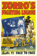 """Movie Posters:Western, Zorro's Fighting Legion (Republic, 1939). One Sheet (27"""" X 41"""") Chapter 11: """"Face to Face."""" Reed Hadley, as the masked hero ..."""