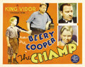 "Movie Posters:Drama, The Champ (MGM, 1931). Half Sheet (22"" X 28""). Wallace Beery givesa masterful performance in this tearjerker as a washed-up..."