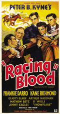 "Movie Posters:Sports, Racing Blood (Conn Pictures, 1936). Three Sheet (41"" X 81""). Born into a show business family, Frankie Darro's parents were ..."
