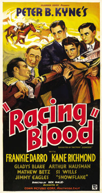 "Racing Blood (Conn Pictures, 1936). Three Sheet (41"" X 81""). Born into a show business family, Frankie Darro's..."