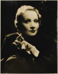 "Movie Posters:Miscellaneous, Marlene Dietrich Studio Portrait (Paramount, 1930). Still (11"" X14""). Beautiful satin finish, black and white, silver gelat..."