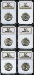 Kennedy Half Dollars: , (6)1964 50C MS66 NGC.... (Total: 6 Coins)