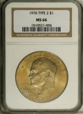 Eisenhower Dollars: , 1976 $1 Type Two MS66 NGC. NGC Census: (250/2). PCGS Population (303/8). Mintage: 113,318,000. Numismedia Wsl. Price: $14. ...