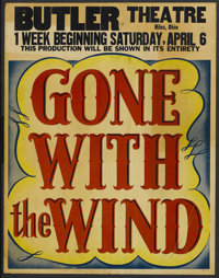 "Gone with the Wind (MGM, 1939). Jumbo Window Card (22"" X 28""). Romantic Epic. Starring Clark Gable, Vivien Lei..."