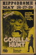 "Movie Posters:Documentary, The Gorilla Hunt (FBO, 1926). Window Card (14"" X 22""). Wildlife Documentary. Starring and Directed by Ben Burbridge. Long te..."
