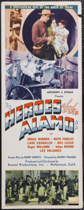 "Movie Posters:War, Heroes of the Alamo (Sunset Productions, 1937). Insert (14"" X 36"").War. Starring Bruce Warren, Ruth Findlay, Lane Chandler,..."