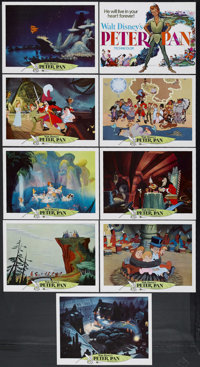 """Peter Pan (Buena Vista, R-1969). Lobby Card Set of 9 (11"""" X 14""""). Animated Adventure. Starring the voices of B..."""