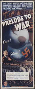 "Movie Posters:Documentary, Prelude to War (War Activities Committee, 1943). Insert (14"" X 36"") Style B. Documentary. Narrated by Walter Huston and Anth..."