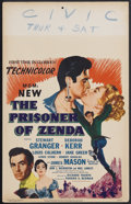 "Movie Posters:Adventure, The Prisoner of Zenda (MGM, 1952). Window Card (14"" X 22"").Adventure. Starring Stewart Granger, Deborah Kerr, Louis Calhern..."