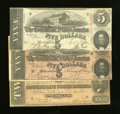 Confederate Notes:Group Lots, Confederate $5; $5; and $2.. . ... (Total: 3 notes)