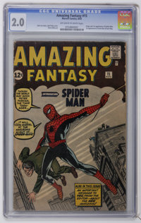 Amazing Fantasy #15 (Marvel, 1962) CGC GD 2.0 Off-white to white pages. The unforgettable origin and first appearance of...