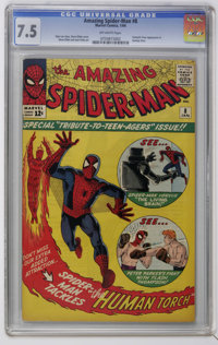 The Amazing Spider-Man #8 (Marvel, 1964) CGC VF- 7.5 Off-white pages. Spider-Man vs. the Living Brain and Flash Thompson...