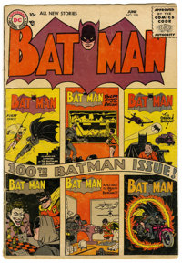 Batman #100 (DC, 1956) Condition: VG-. The Dark Knight celebrates his 100th issue. Features all-new stories and a cover...
