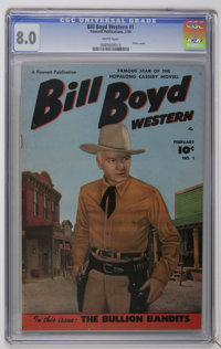 Bill Boyd Western #1 (Fawcett, 1950) CGC VF 8.0. White pages Bill Boyd and his horse Midnite begin. Photo cover front an...