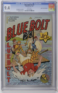 Blue Bolt V5#4 Mile High pedigree (Novelty Press, 1945) CGC NM 9.4 White pages. Joe Donahue cover and art. Overstreet 20...