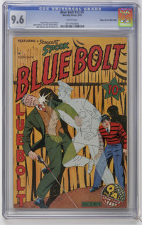Blue Bolt V5#5 Mile High pedigree (Novelty Press, 1945) CGC NM+ 9.6 White pages. Robert Pious cover and art. Overstreet...