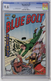 Blue Bolt V5#8 Mile High pedigree (Novelty Press, 1945) CGC NM+ 9.6 White pages. Henry Kiefer art. Overstreet 2006 NM- 9...