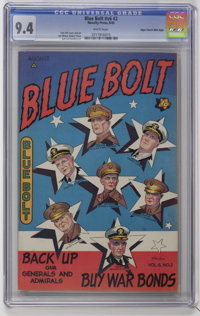Blue Bolt V6#2 Mile High pedigree (Novelty Press, 1945) CGC NM 9.4 White pages. Overstreet 2006 NM- 9.2 value = $110. CG...